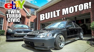 TWIN-TURBO CIVIC IS BACK! - BUILT MOTOR INSTALL by Evan Shanks