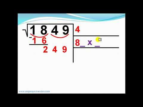 Raíz cuadrada números enteros. Ejemplo 1