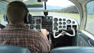 Landing and takeoff from Nehalem Bay Oregon in a Mooney M20B.