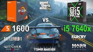 i5 7640x vs Ryzen 5 1600 Test in 7 Games (GTX 1060)Games:Battlefield 1 Grand Theft Auto V - 01:30Project Cars - 03:36Mass Effect Andromeda - 05:08The Witcher 3 - 06:31Far Cry Primal - 07:58Rise of the Tomb Raider - 09:02System: Windows 10AMD Ryzen 5 1600 3.2GhzAsus PRIME B350M-ARAM 2666MhzIntel i5 7640x 4.0GhzASUS TUF X299RAM 2666MhzGTX 1060 6Gb16Gb RAM