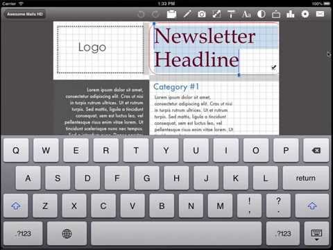 Using a newsletter Template from add-on App