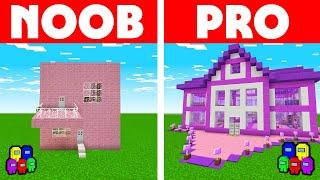 Among Us Vs Minecraft - NOOB VS PRO: GIRL HOUSE BUILD CHALLENGE! Minecraft Among us Animation