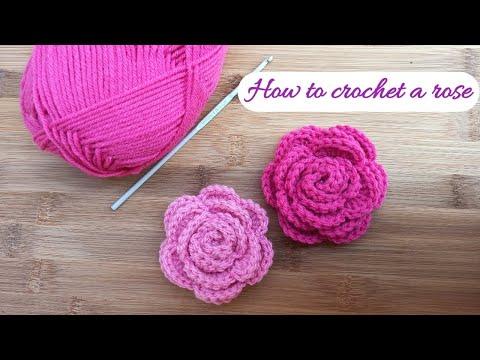 How to - Crochet Rose Flower | Easy Crochet flower tutorial for Beginners