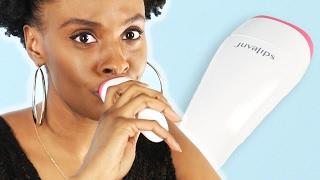 Women Try An Electronic Lip Plumper