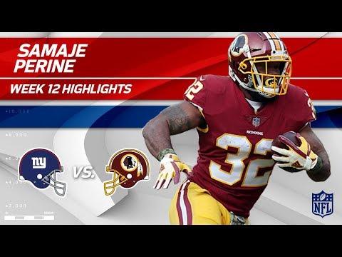 Video: Samaje Perine's Powerful Night w/ 130 Total Yds!   Giants vs. Redskins   Wk 12 Player Highlights