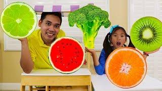 Wendy Pretend Play w/ Giant Fruit & Veggies Pillow Kids Food Toys