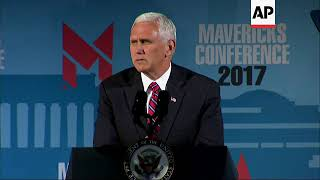 """(16 Jul 2017) US Vice President Mike Pence touted the Republican health care bill aimed to replace the Affordable Care Act on Saturday evening, saying it """"gives states unprecedented freedom and flexibility to reform Medicaid"""" and that state-based solutions are """"the Republican way"""" and """"the American way"""". Pence railed against Obamacare, saying it was """"literally imploding"""". He was speaking at the Maverick PAC conference in Washington, D.C.You can license this story through AP Archive: http://www.aparchive.com/metadata/youtube/7fe149c5890417b932bcbf91ee0934e2 Find out more about AP Archive: http://www.aparchive.com/HowWeWork"""