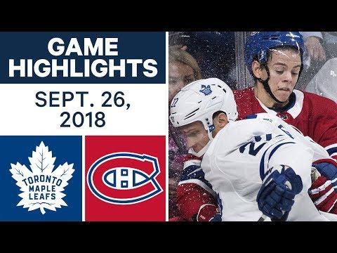 Video: NHL Pre-season Highlights | Maple Leafs vs. Canadiens - Sept. 26, 2018