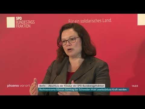 Andrea Nahles zur Klausur der SPD-Bundestagsfraktion am 07.09.18