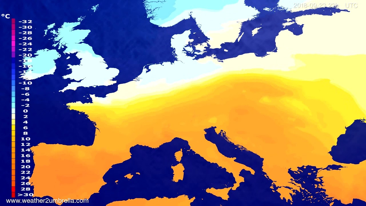Temperature forecast Europe 2018-09-21