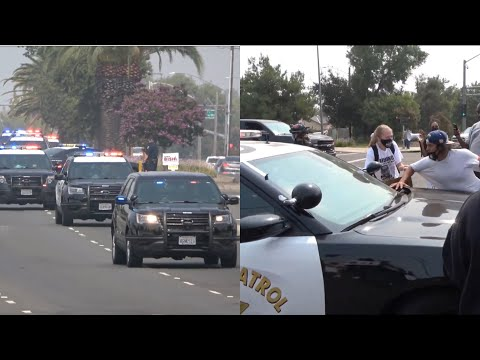 Protester Jumps on Moving CHP Car during Trump's Sacramento Visit