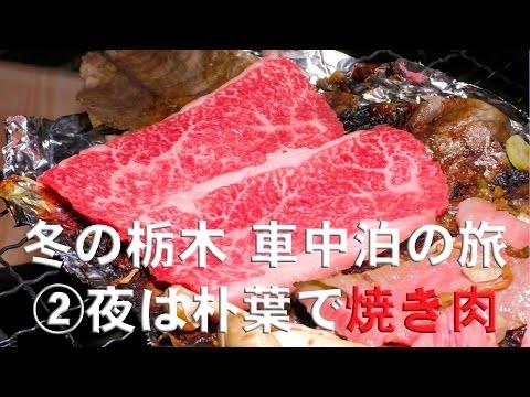 冬の栃木 車中泊の旅 ②夜は朴葉で焼き肉編 【② Grilled meat at Park at night 】