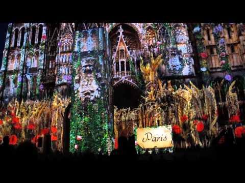 Laser Light Show on Notre Dame Cathedral, Rouen, France