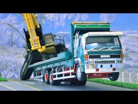ウイリー!京商小松PC1250-8ラジコンユンボ自作の回送車に積みこみISUZU