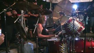 Nicko drumming out @ his restaurant Rock n Roll Ribs in Coral Springs, Fl for their 5th anniversary party on 12/06/2014.