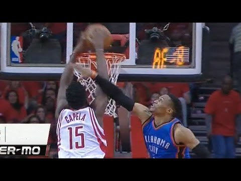 Clint Capela dunks on Russell Westbrook