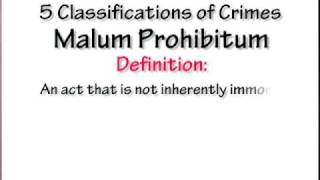 Crim Law 2: 5 Classifications Of Crimes