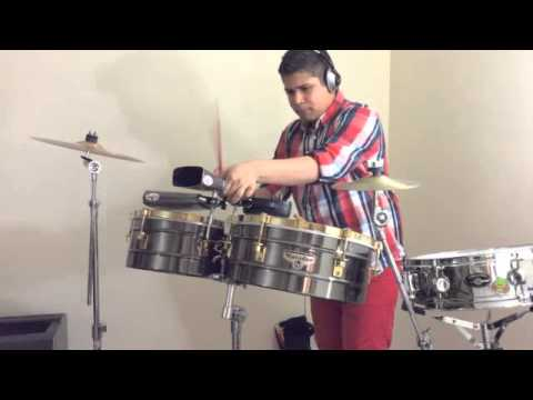 Latin boy playing Timbales - Salsa music