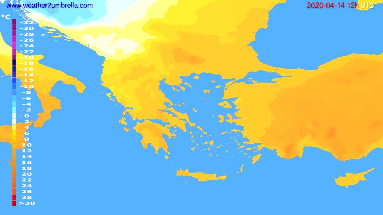 Temperature forecast Greece // modelrun: 00h UTC 2020-04-14