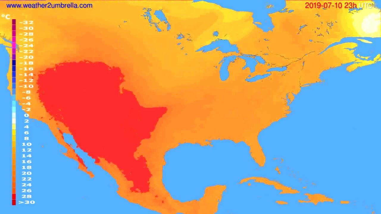 Temperature forecast USA & Canada // modelrun: 12h UTC 2019-07-07