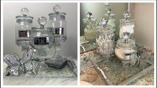 DOLLAR TREE DIY BATHROOM DECOR -  GLAM APOTHECARY JARS AND GLAM CAKE STAND