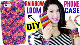 DIY Rainbow Loom Phone Case | How To Weave An iPhone Case Without A Loom! Easy, Life Hack & Cheat! by GlitterForever17