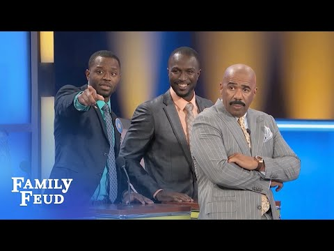 The family fued ''whats your name sir?'', ''Obu Obu Obu''.