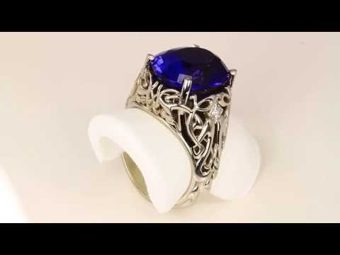 Christopher Michael Design Art Nouveau Large Oval Tanzanite Ring