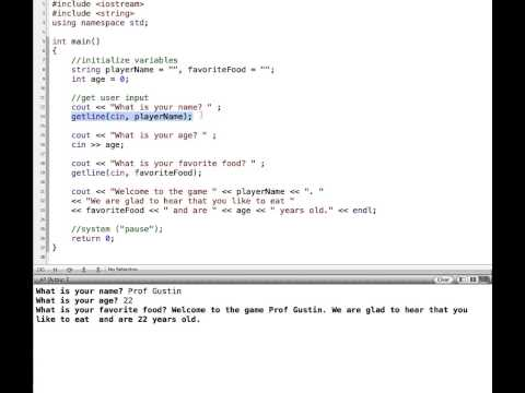 C++ Extraction Operator, getline and cin.ignore() (видео)