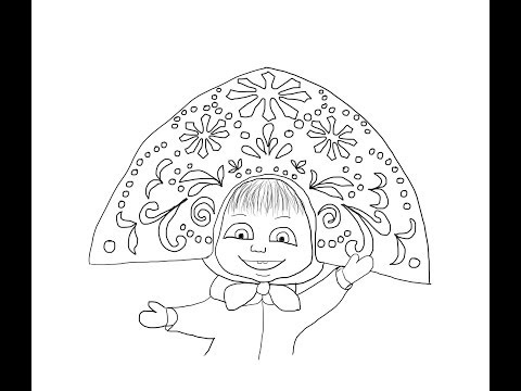 Masha and the bear snow queen how to draw маша и медведь