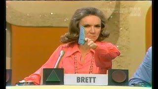 The first full episode after crazy contestant Dorothy loses. Brett gets a raspberry from the man on the buzzer.Larry Hovis, Brett Somers, Charles Nelson Reilly, Patti Deutsch, Richard Dawson, Madlyn Rhue
