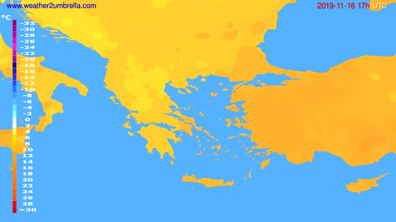 Temperature forecast Greece // modelrun: 00h UTC 2019-11-15