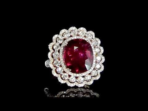 Lady's 18k Rose Gold 7.87ct Rubellite and Diamond Ring