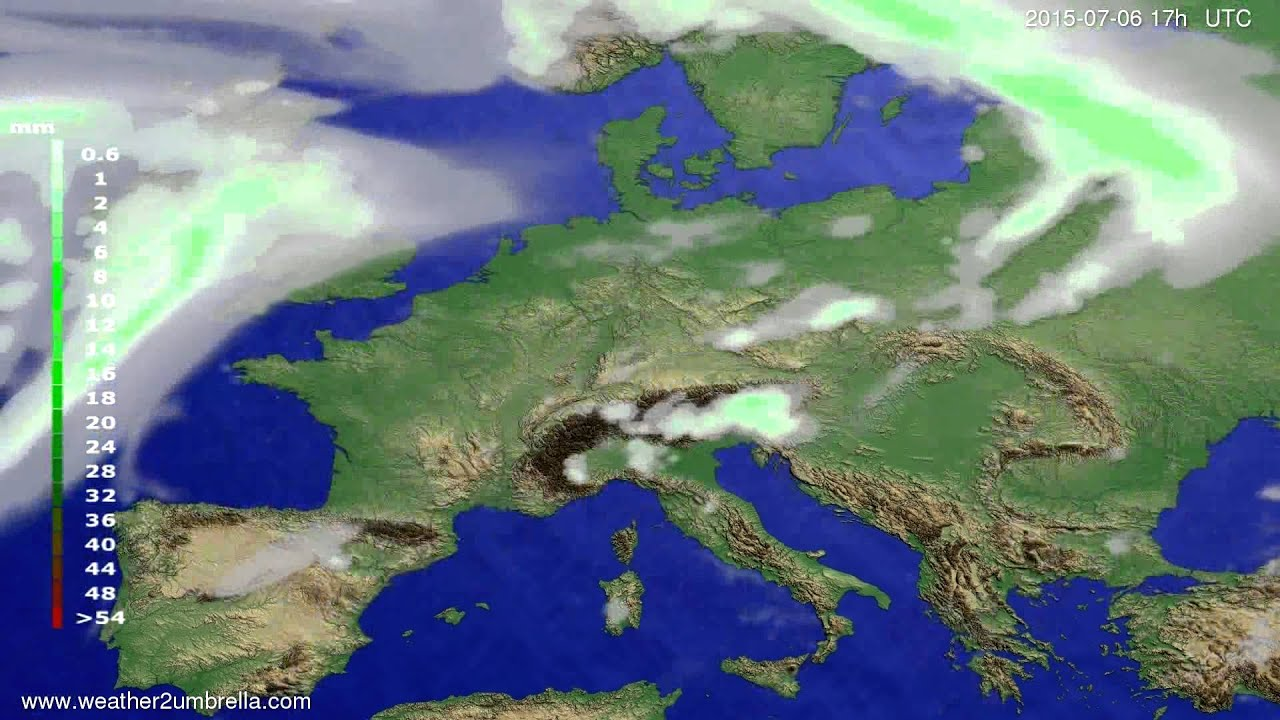Precipitation forecast Europe 2015-07-04