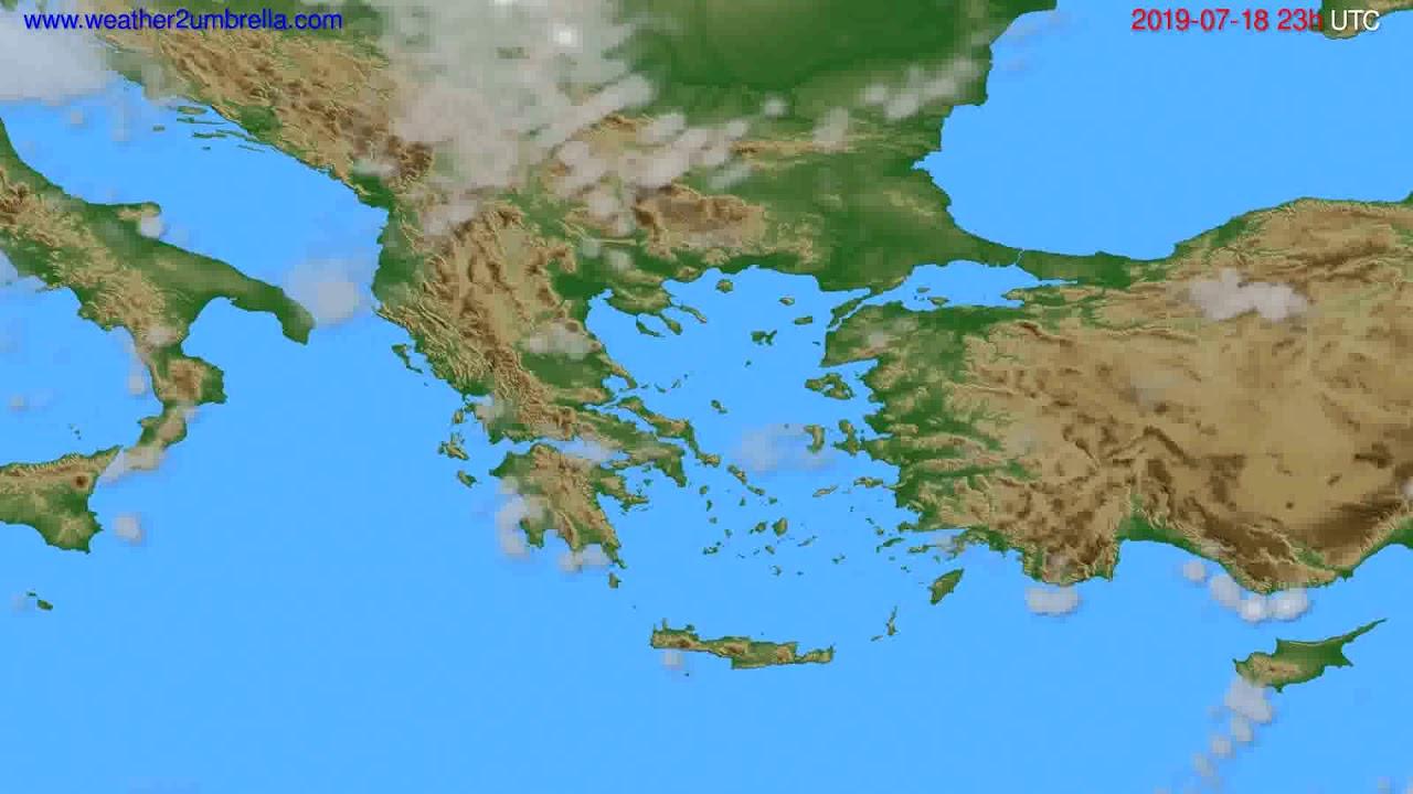 Cloud forecast Greece // modelrun: 12h UTC 2019-07-15