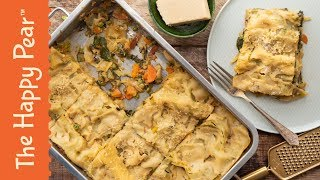 VEGAN LASAGNE | WHITE SAUCE AND SPRING VEG | THE HAPPY PEAR