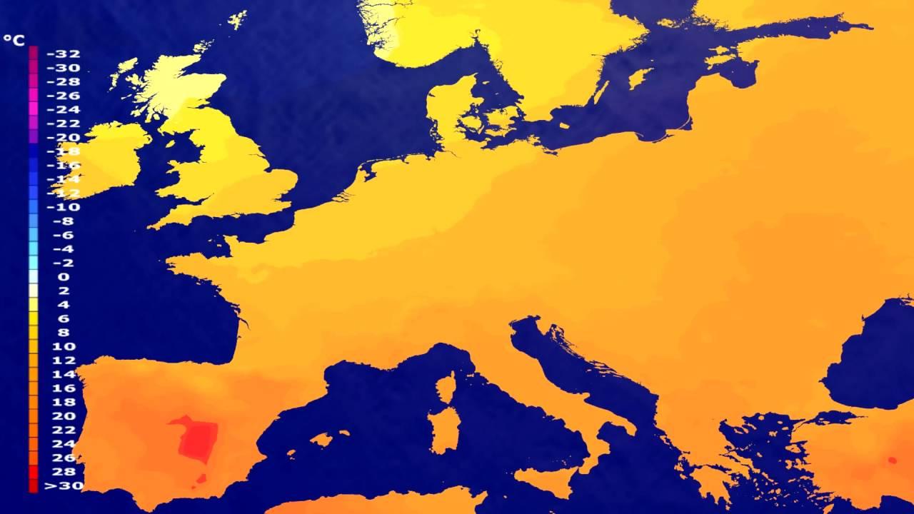 Temperature forecast Europe 2016-07-25