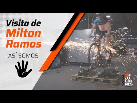 Simpática visita de Milton Ramos  a la fábrica de Enganches Aragón: jugando con sus NorthWave