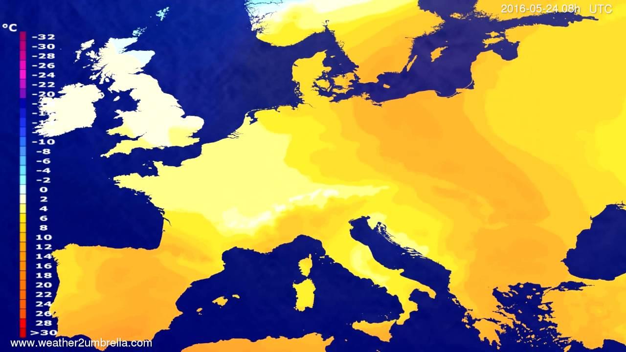 Temperature forecast Europe 2016-05-21