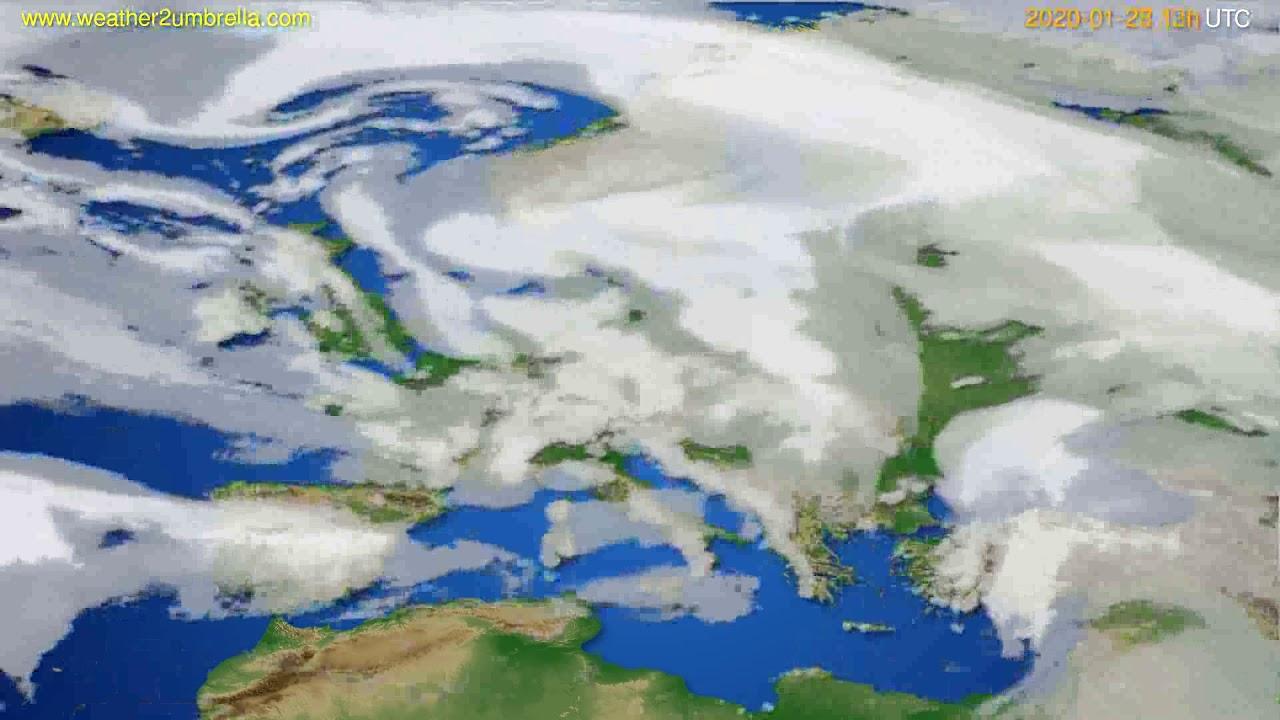 Cloud forecast Europe // modelrun: 12h UTC 2020-01-27