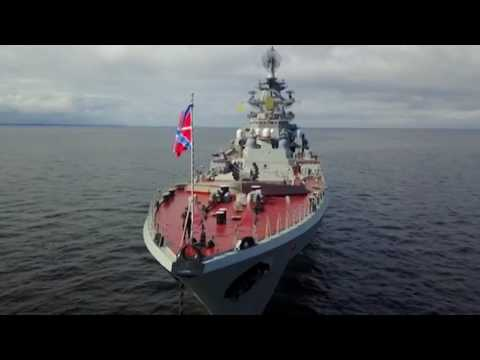 'King of ships' & escort: Nuclear battlecruiser 'Pyotr Velikiy' near Saint Petersburg