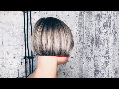 Short haircuts - how to cut bob haircut with line technique tutorial