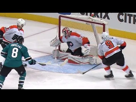 Video: Couture banks puck off MacDonald for one of the luckiest goals of his career