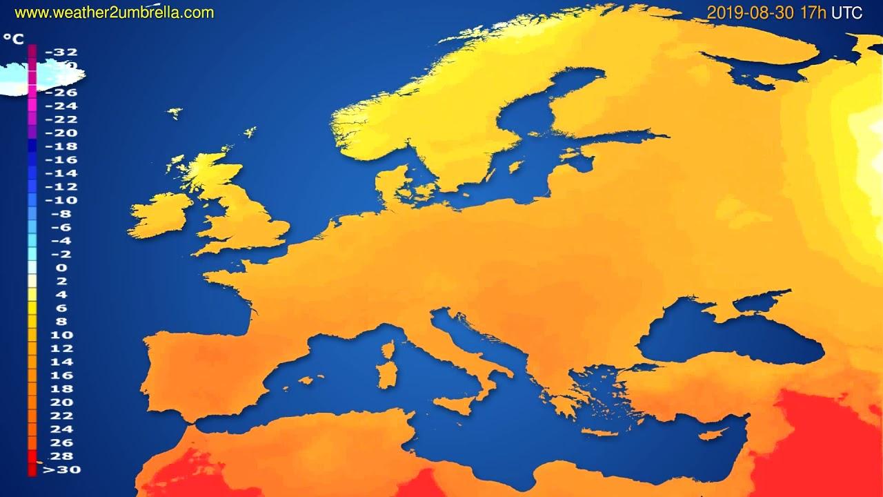 Temperature forecast Europe // modelrun: 00h UTC 2019-08-29