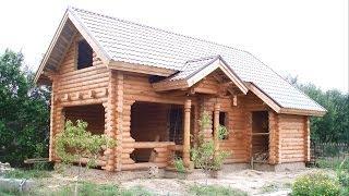 Гостевой домик с мансардой. Оцилиндрованное бревно - сосна.