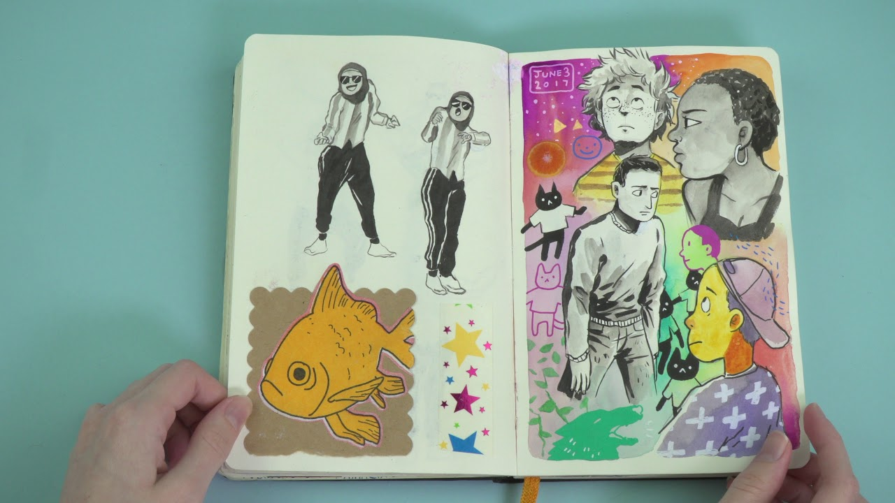 A notebook full of colorful illustrations of people and animals.