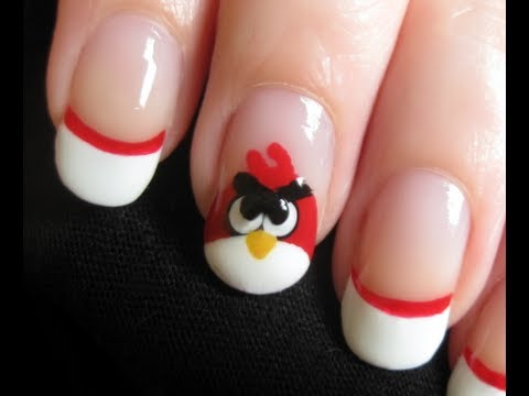 tutorial - come realizzare una angry bird nail art