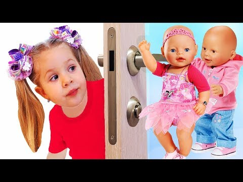 Diana and crying Baby Born dolls behind the door