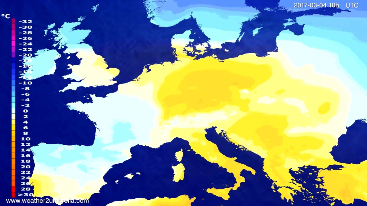 Temperature forecast Europe 2017-03-01
