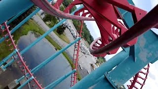 Mind EraserDarien Lake (Darien Center, New York, USA)Operating since 5/17/1997Roller CoasterSteelInvertedExtremeMake: VekomaModel: SLC / SLC (689m Standard)StatisticsLength: 2,260.5 ftHeight: 109.3 ftInversions: 5Speed: 49.7 mphDuration: 1:25Elements: Chain Lift HillRoll OverSidewinderDouble In-Line TwistCapacity: 1,040 riders per hourDetailsCost: $8,500,000 USDTrains: 2 trains with 10 cars per train. Riders are arranged 2 across in a single row for a total of 20 riders per train.